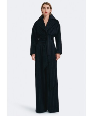 AQ/AQ Sana Cropped Belted Jacket in Navy Pinstripe