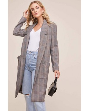 ASTR Oversized Coat in Black-Brown Plaid