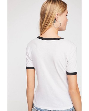 Free People Flocked NYC Ringer Tee in White