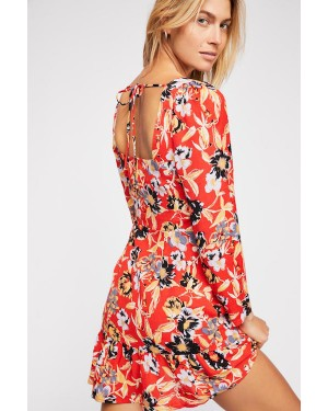 Free People Forever Printed Mini Dress in Red