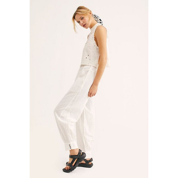 Free People Check It Out Pants in Ivory