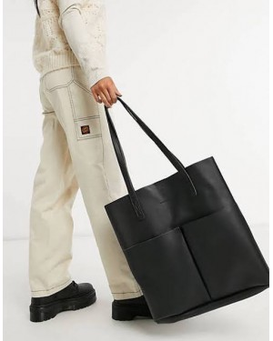Claudia Canova Unlined Two Pocket Tote Bag in Black