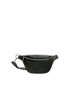 Pull & Bear Quilted Waist Bag in Black