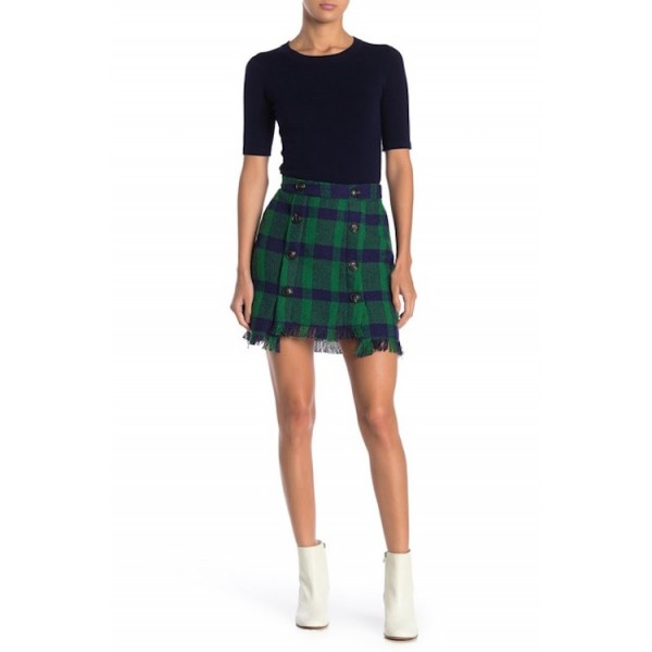 JOA Fringed Mini Skirt with Button Detail in Green Plaid
