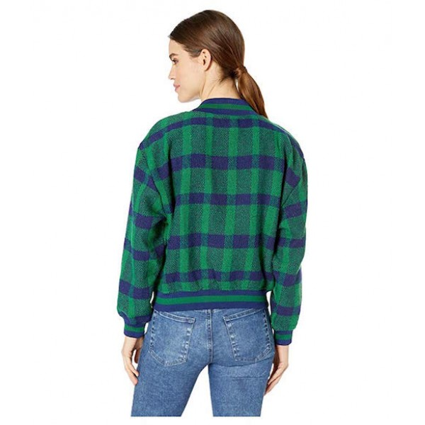 JOA Plaid Pullover Top in Green Plaid