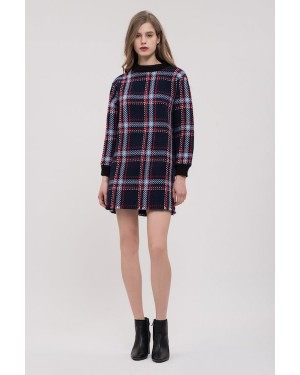 JOA Fringed Shift Dress in Navy Plaid