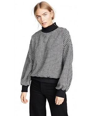 JOA Houndstooth Mockneck Sweatshirt in Black & White