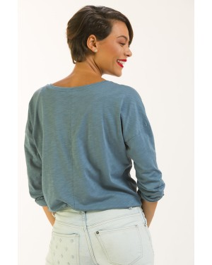 Lyoum Picasso loved Falafel Long Sleeve T-Shirt in Blue