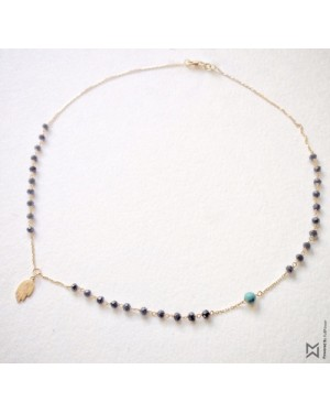 M Collection Onyx Rosary with Kaff Necklace in 18K Yellow Gold