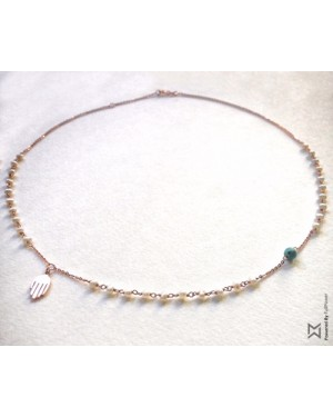 M Collection Pearl Rosary with Kaff Necklace in 18K Yellow Gold