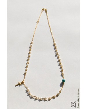 M Collection Pearl Rosary with Cross Necklace in 18K Yellow Gold