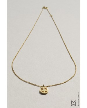 M Collection Peace Sign Necklace in 18K Yellow Gold