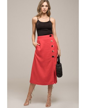 Moon River Mix Match Button Midi Skirt in Red