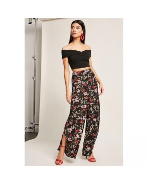 F21 Vented Floral Wide-Leg Trousers in Black