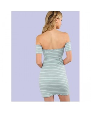 Front Bow Bodycon Striped Dress in Green