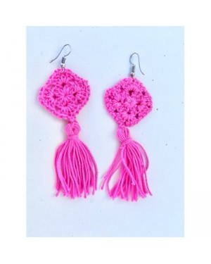 Colorful Yarns Earrings in Pink