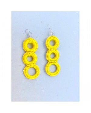 Colorful Yarns Loop Earrings in Yellow