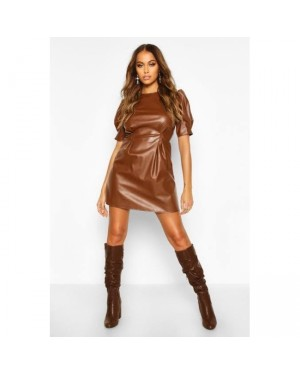 Puff Sleeve Skater Dress in Brown