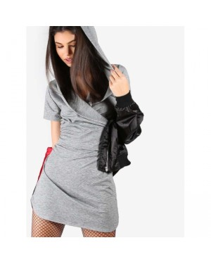 Cowl Hoodie Fitted Dress in Grey
