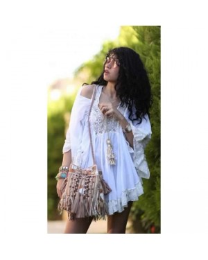 Lace Trim Open Shoulder Cover up Dress in White
