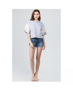 Ontwelfth Colorblock Sleeve Boxy Blouse in Grey