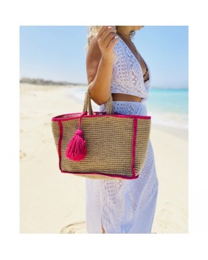 Colorful Yarns Tassels Beach Bag in Pink
