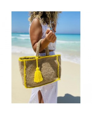 Colorful Yarns Tassels Beach Bag in Yellow