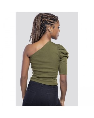 Belle One Shoulder Top in Olive