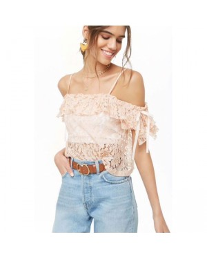 F21 Sheer Open-Shoulder Lace Crop Top in IVORY
