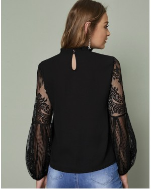 Lace Sleeve Blouse in Black