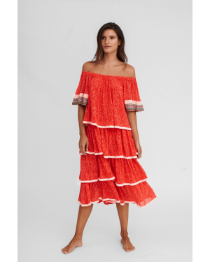 Pitusa Boho Dress in Strawberry