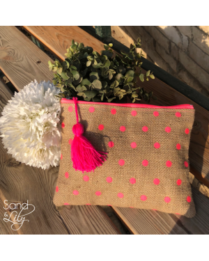 Sand & Lily Polka Clutch in Pink