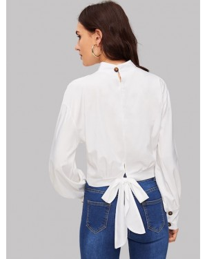 Mock Neck Button Through Knot Back Top in White