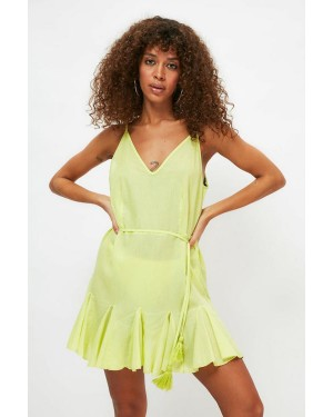 Voile Belted Beach Dressin Yellow