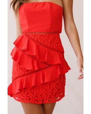 Selfie Leslie Aramis Strapless Lace & Ruffle Detail Dress in Red