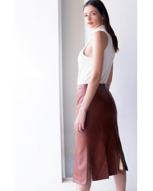 Sorelle Leather Cuts Skirt in Camel
