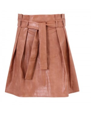 Sorelle Puffy Leather Skirt in Brown