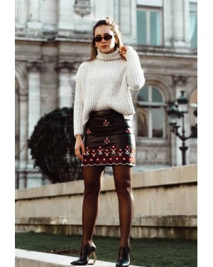 Sorelle The Leather Floral Skirt