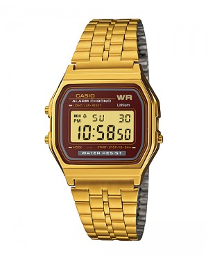 Casio A159 Digital Watch in Gold/Burgundy