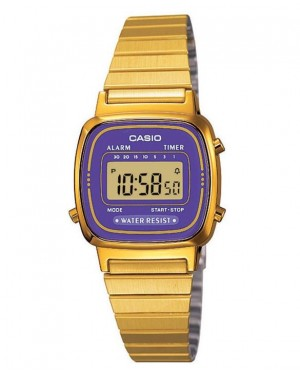 Casio LA670 Digital Watch in Gold/Purple