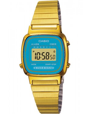 Casio LA670 Digital Watch in Gold/Turquoise