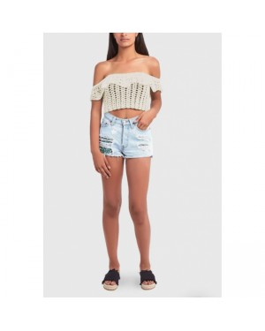Colorful Yarns Off Shoulder Top in Off-White