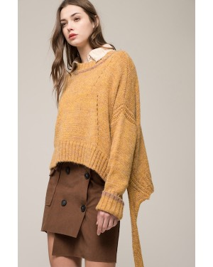 Moon River Knit Pullover with Contrast Stripe in Mustard