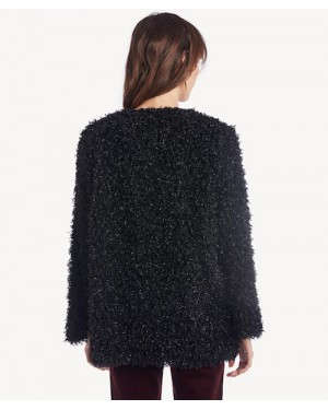 Moon River Bell Sleeve Sparkle Cardigan in Black
