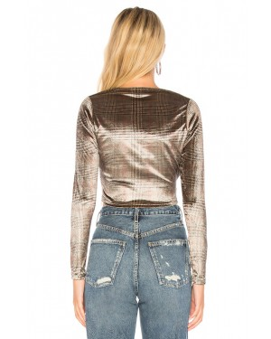 By The Way Felicity Wrap Long Sleeve Top in Plaid